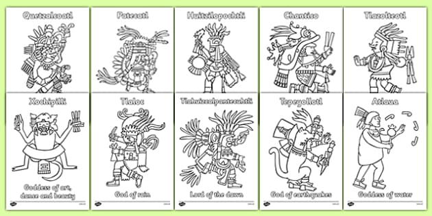 Aztec Gods Colouring Sheets - Aztec, aztec people, Mexican, colouring, fine motor skills, poster, worksheet, vines, A4, display, history, Mexico, tenochtitlan, texcoco, lake, temple, tenoch, Valley of Mexico