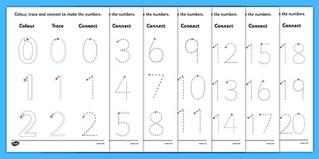 Numbers 0-20 Colour, Trace and Join the Dots - numbers, 0-20, colour, trace, join, dots