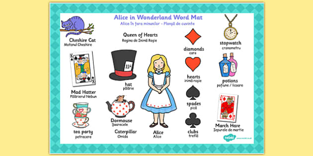 Alice in Wonderland Word Mat Romanian Translation - romanian, eal, romania, bilingual, translated,  alice, lewis, carroll, book, story, classic, classics, vocabulary, words, literature, children's books, looking glass