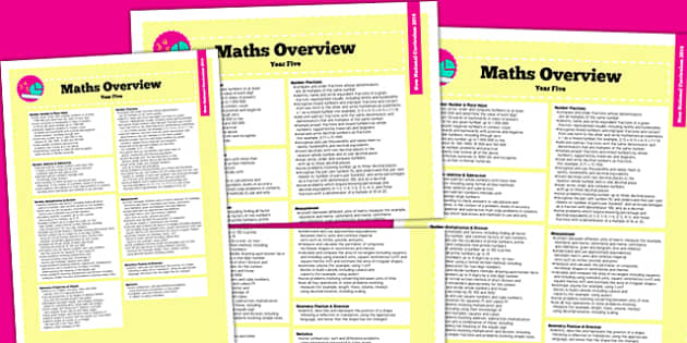 2014 Curriculum Year 5 Maths Overview - new curriculum, numeracy