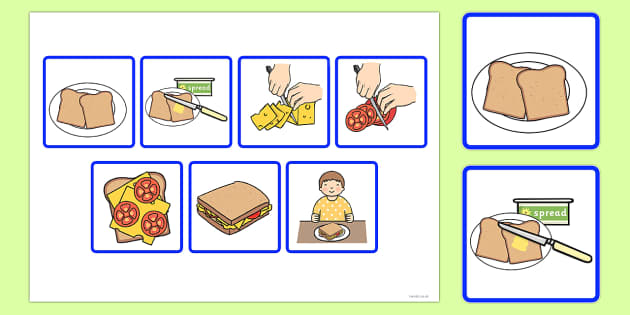Step Sequencing Cards Making a Sandwich - sequencing, cards