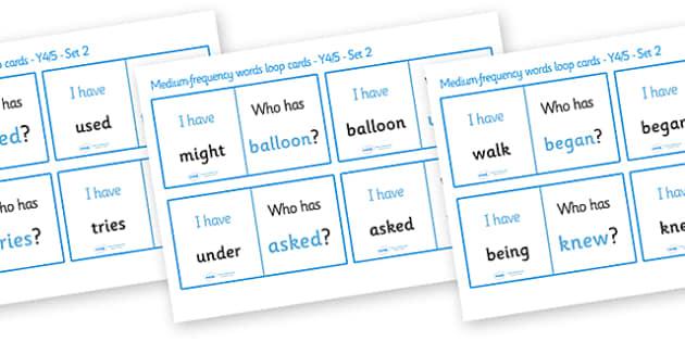 Medium Frequency Words Loop Cards Set 2 (Y4 & Y5) - medium frequency words, loop cards, set, set 2, frequency words, words, medium, Y4, Y5, year 4, year 5, five, four, year, loop cards, cards, flashcards, loop, image
