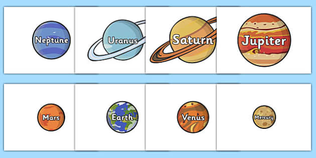 Planet Names Words on Planets - plant, space, space display