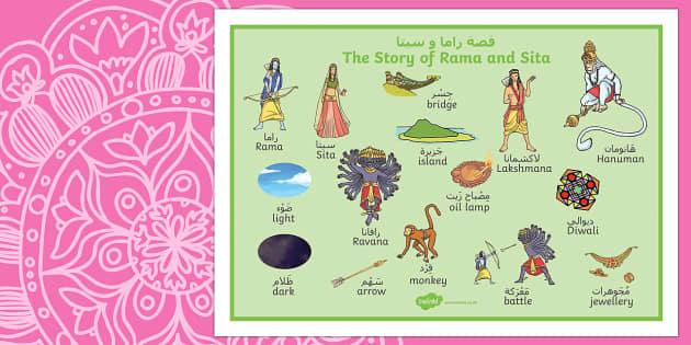 The Story of Rama and Sita Word Mat Arabic/English