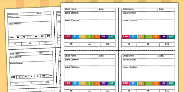 Snapshot Observation Templates - child observation, assessment