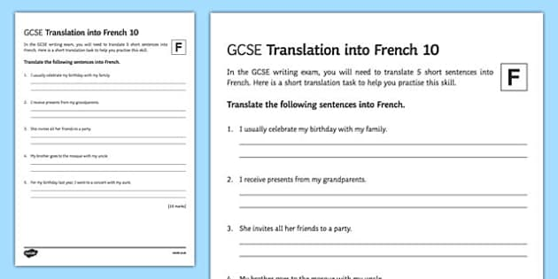 GCSE French: Translation into French - Foundation Tier Activity Sheet 10, worksheet