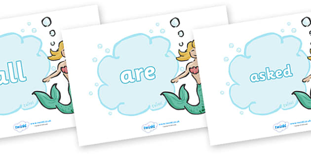 Tricky Words on Mermaids - Tricky words, DfES Letters and Sounds, Letters and sounds, display, words