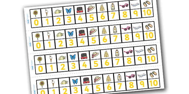 Summer Number Track (1-10) - Summer, Maths, Math, number track, numbertrack, Counting, Numberline, Number line, Counting on, Counting back, holidays, beach, sun, flowers, ice cream, sea, seaside