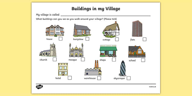 Buildings In My Village Worksheet - houses and homes, house, home, building, worksheet, sheet, activity, my village, flats, church, shops, school, mosque, flats, brick, stone, detached, terraced, bathroom, kitchen, door, caravan, where we live, ourse
