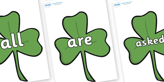 Tricky Words on Clovers - Tricky words, DfES Letters and Sounds, Letters and sounds, display, words