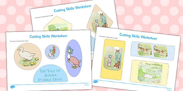 The Tale of Jemima Puddle-Duck Cutting Skills Worksheet - jemima puddle-duck