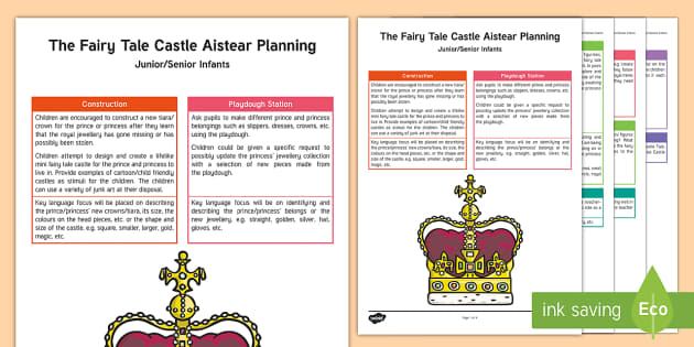 ROI Fairy Tale Castle Aistear Planning Template - Aistear, Infants, English Oral Language, School, The Garda Station, The Hairdressers, The Airport, T