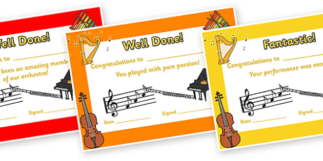 Orchestra Certificates - orchestra, certificates, music, award