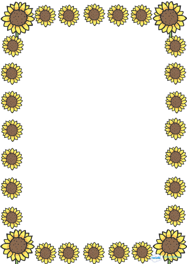 Sunflower Full Page Borders - page border, border, frame, writing frame, writing template, sunflower page borders, sunflower borders, sunflower writing frames, sunflower, flower, flowers, writing aid, writing, A4 page, page edge, writing activities,