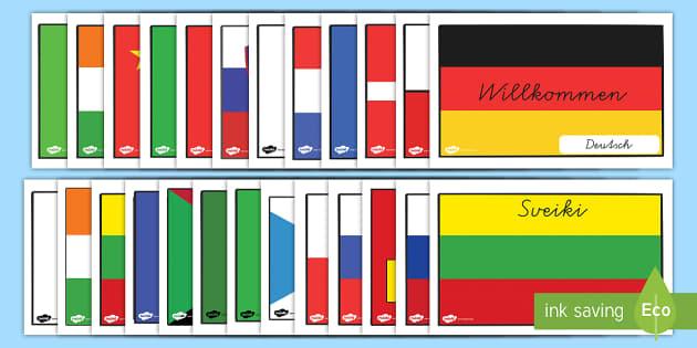 internationale willkommen flaggen mit l ndernamen poster f r. Black Bedroom Furniture Sets. Home Design Ideas