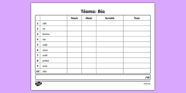 Spelling List Bia 2 Irish Activity Sheet