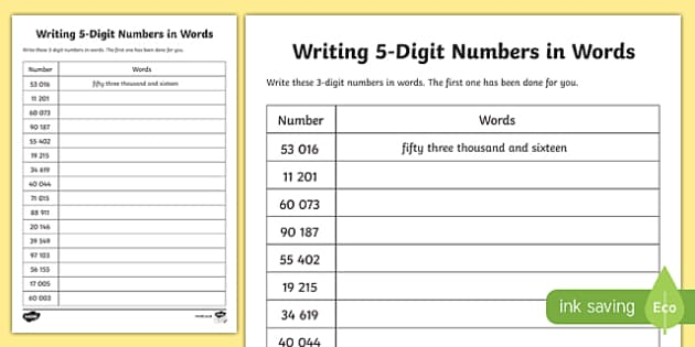 Place Value Writing 5-Digit Numbers in Words Activity Sheet-Scottish, worksheet