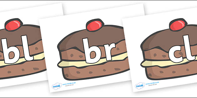 Initial Letter Blends on Chocolate Buns - Initial Letters, initial letter, letter blend, letter blends, consonant, consonants, digraph, trigraph, literacy, alphabet, letters, foundation stage literacy
