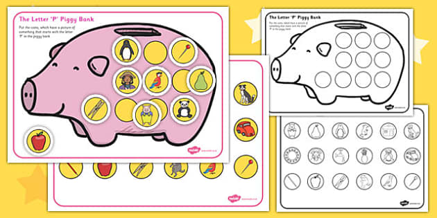 The Letter 'P' Phonics Piggy Bank Activity - piggy bank, phonics