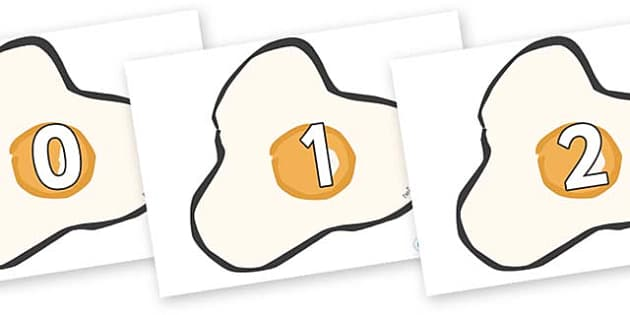 Numbers 0-50 on Fried Eggs - 0-50, foundation stage numeracy, Number recognition, Number flashcards, counting, number frieze, Display numbers, number posters