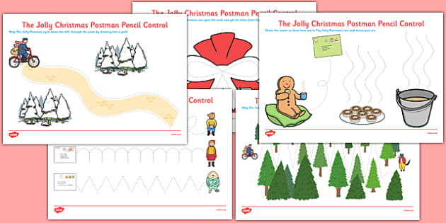 Pencil Control Sheets to Support Teaching on The Jolly Christmas Postman - EYFS, Early Years, fine motor control, PD, Physical Development