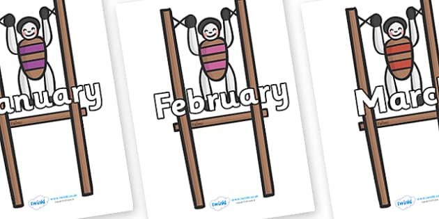 Months of the Year on Toys - Months of the Year, Months poster, Months display, display, poster, frieze, Months, month, January, February, March, April, May, June, July, August, September