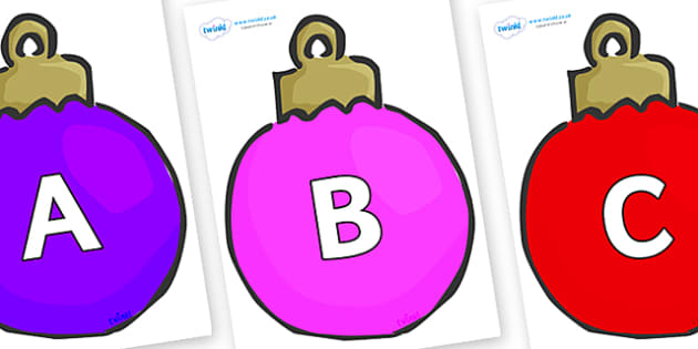 A-Z Alphabet on Plain Baubles (Multicolour) - A-Z, A4, display, Alphabet frieze, Display letters, Letter posters, A-Z letters, Alphabet flashcards