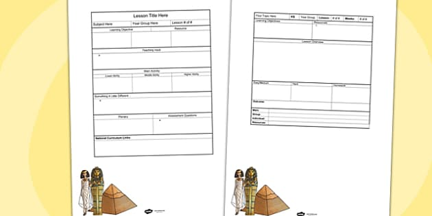 Ancient Egypt Editable Individual Lesson Plan Template - plans