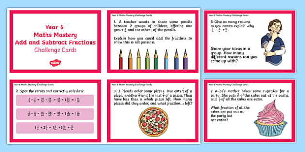 Year 6 Fractions Add and Subtract Maths Mastery Activities Challenge Cards - year 6, fractions, add, subtract, maths, mastery, activity, challenge cards