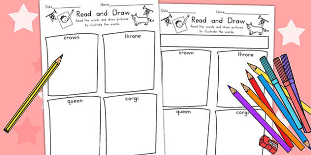 Royal Family Read and Draw Worksheet - queen elizabeth, queen