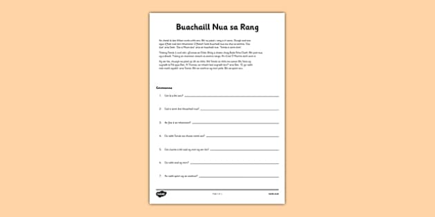 Buachaill Nua Comprehension Worksheet Gaeilge - leitheoireacht, reading, comprehension, ceisteanna, questions