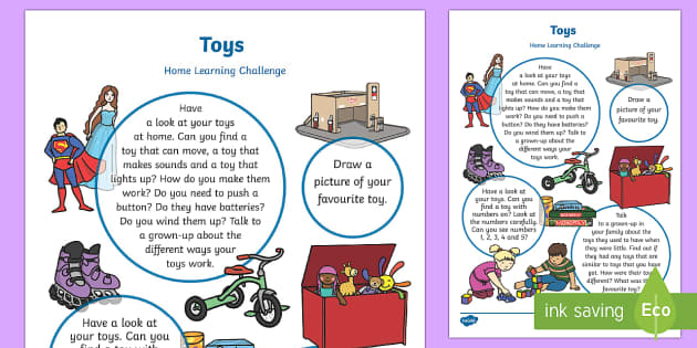 EYFS Toys Home Learning Challenge Sheet Nursery FS1 - Toy, game, play, turns, family, puzzle,