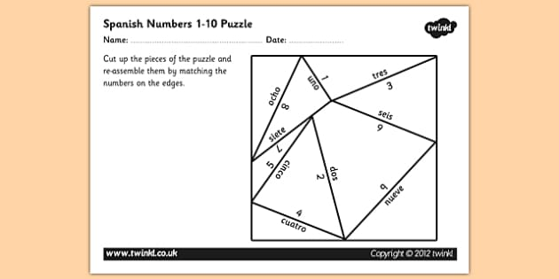 Spanish Numbers 1 10 Puzzle - spanish, numbers, 1, 10, puzzle, spanish numbers, number puzzle, spanish number puzzle, matching activity