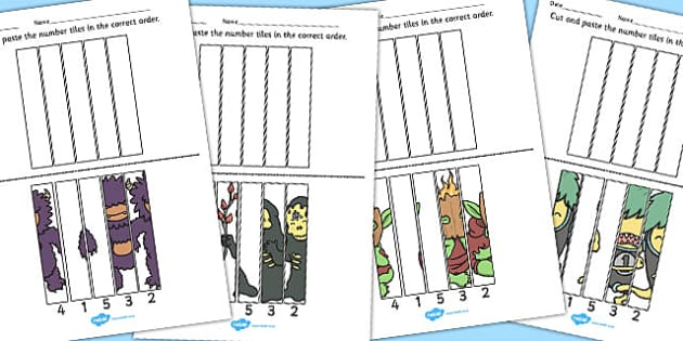 Monster Number Sequencing Matching Puzzle - monster, number