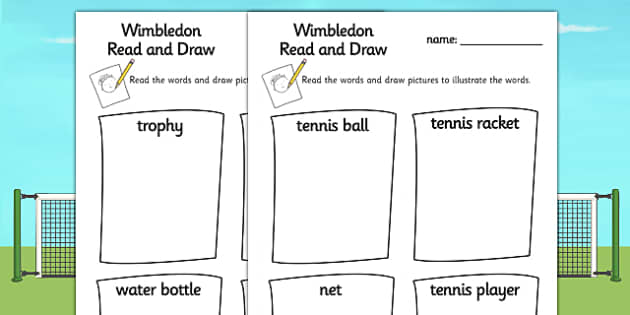 Wimbledon Tennis Read and Draw Worksheet - tennis, sports, pe