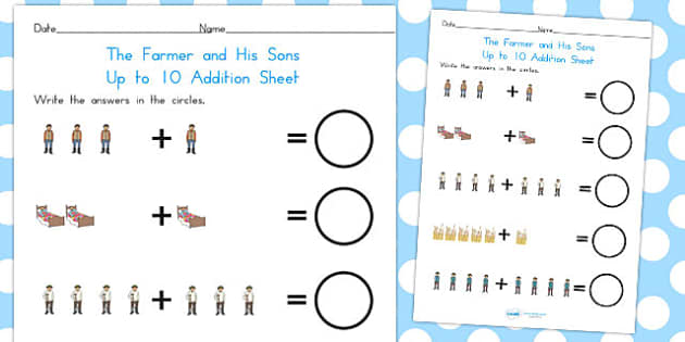 The Farmer and His Sons up to 10 Addition Sheet - australia, 10