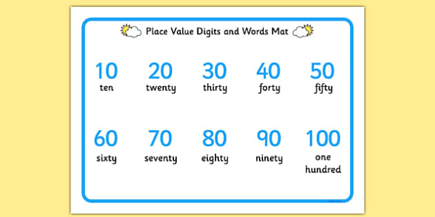 Place Value Digits and Words Mat 10-100 - place value, digits, words, mat, 10-100