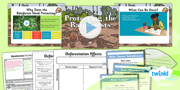 PlanIt - Geography Year 3 - Rainforests Lesson 6: Protecting the Rainforest Lesson Pack - geography, rainforest, tropical, jungle, biome, conservation, deforestation