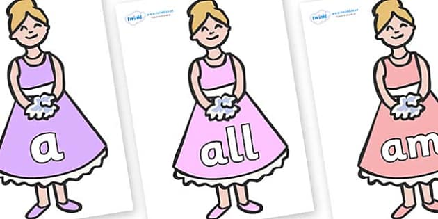 Foundation Stage 2 Keywords on Bridesmaids - FS2, CLL, keywords, Communication language and literacy,  Display, Key words, high frequency words, foundation stage literacy, DfES Letters and Sounds, Letters and Sounds, spelling