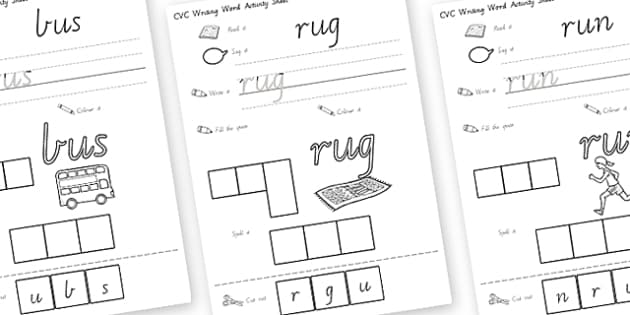 CVC Writing Word Activity Sheets U - CVC, literacy, english , worksheet