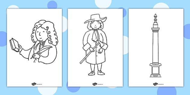 The Great Fire of London Colouring Pages - great fire, london