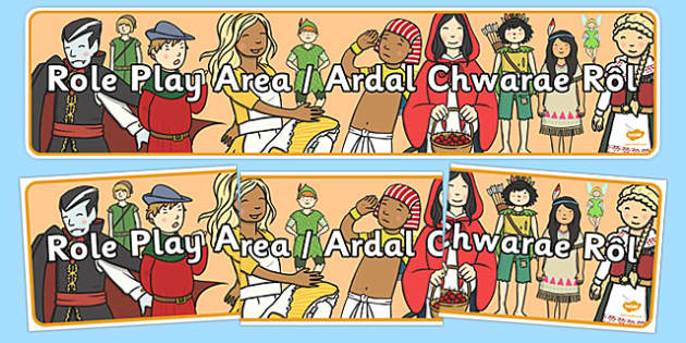 Bilingual Banner for Role Play Area - welsh, cymraeg, Role Play Area, Display Banner, Foundation Phase