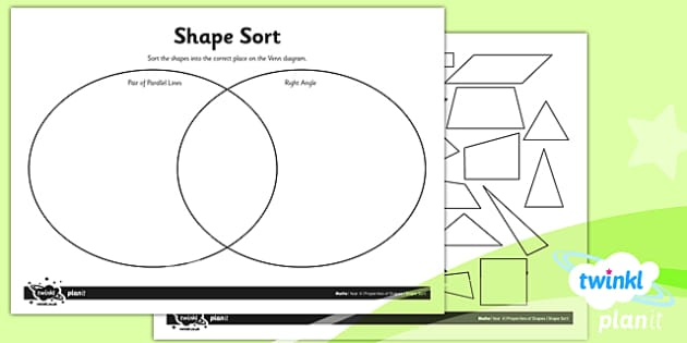 PlanIt Y4 Properties of Shape Shape Sort Home Learning - Properties of Shapes, triangles, quadrilaterals, 2D shapes
