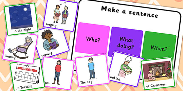 Make a Sentence Who What Doing When - sentence, who, what, doing