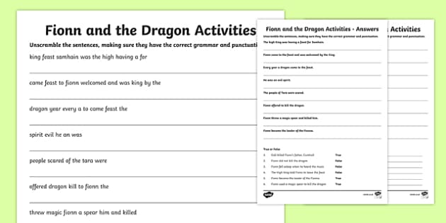 Fionn and the Dragon Literacy Activities Sheet - Irish history