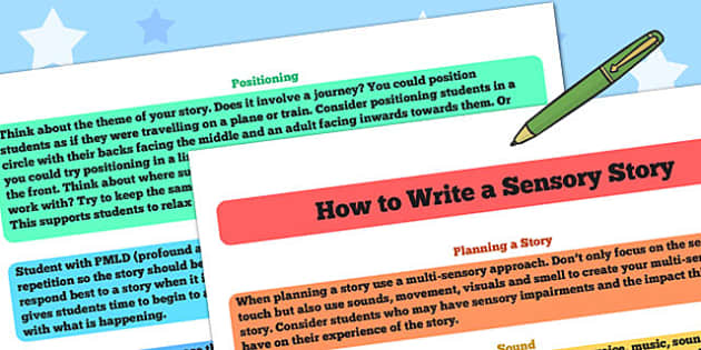 How to Write a Sensory Story - sensory story, stories, writing
