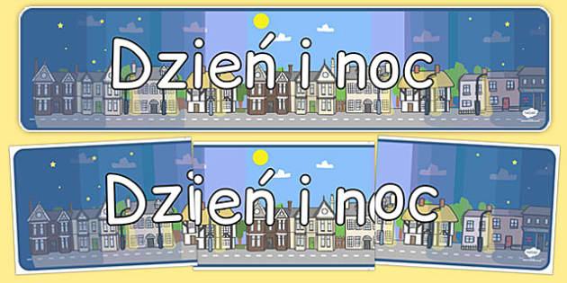 Banner na gazetkę Dzień i noc po polsku - czas, godzina