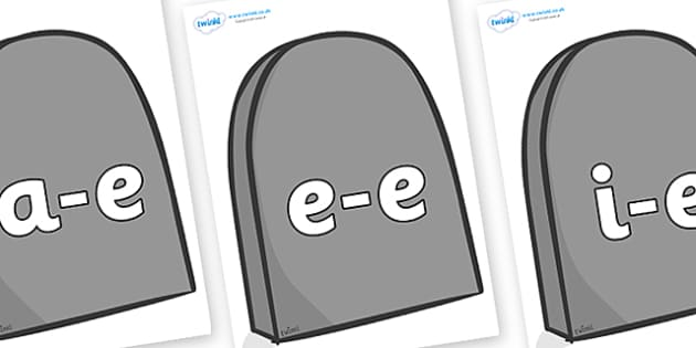 Modifying E Letters on Gravestones - Modifying E, letters, modify, Phase 5, Phase five, alternative spellings for phonemes, DfES letters and Sounds