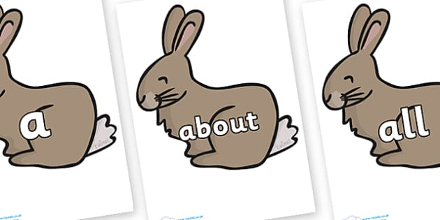 100 High Frequency Words on Rabbit - High frequency words, hfw, DfES Letters and Sounds, Letters and Sounds, display words