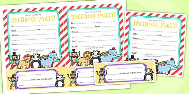 Animal Themed Birthday Party Invitations - birthdays, parties